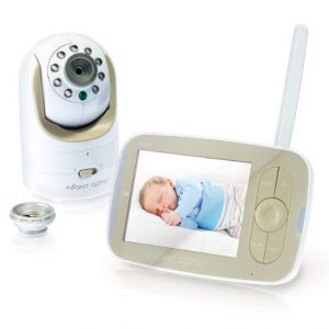 Baby proof bedroom: Baby monitor shown with sleeping baby on screen