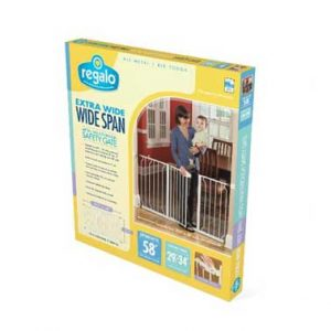 Extra Wide Baby Gate: Regalo Wide Span gate shown in box