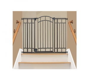 Best pressure mounted baby gates: Summer Infant Multi-Use Deco Extra Tall shown at top of stairs
