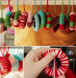 Home made baby proof decorations made from yarn, shown hanging and being made